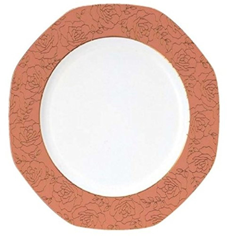 破損しにくい樹脂製陶器調塗物食器 八角プレート 31cm フラワーローズ