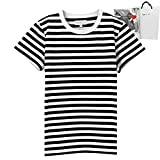 [ギフトラッピング済] agnes b. アニエスベー ボーダー Tシャツ レディース 半袖 ショップバッグ付 (2(M), ブラック×ホワイト)