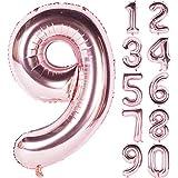Angel&tribe 番号0-9誕生日パーティー装飾ローズゴールドヘリウム箔マイラー大きい番号バルーン101センチメートル/ 40インチシャンパン番号9