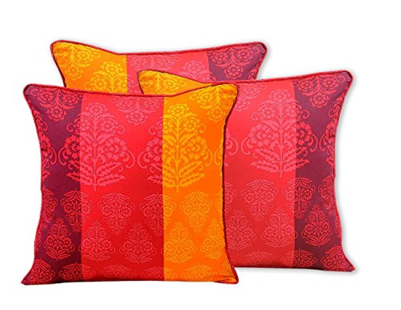 ShalinIndia IndianばねDecor印刷クッション枕カバー – Set of 3 – 100パーセントコットン – 200スレッド数 – Perfect forベッドとソファ – Machine Washable 16 x 16 Inch MPN-CC182-1303-S3-16x16