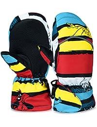 キッズ スキー手袋 スノボグローブ 子供用 防水 防寒 防風 滑り止め アウトドア ミトン型