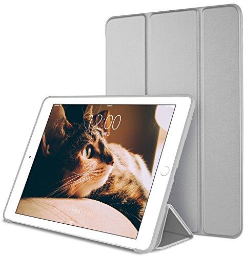 DTTO iPad Mini 1/2/3 ケース 超薄型 超軽量 生涯保証 TPU ソフト PUレザー スマートカバー 三つ折り スタンド スマートキーボード対応 キズ防止 指紋防止 [オート スリープ/スリー プ解除] スペースグレー