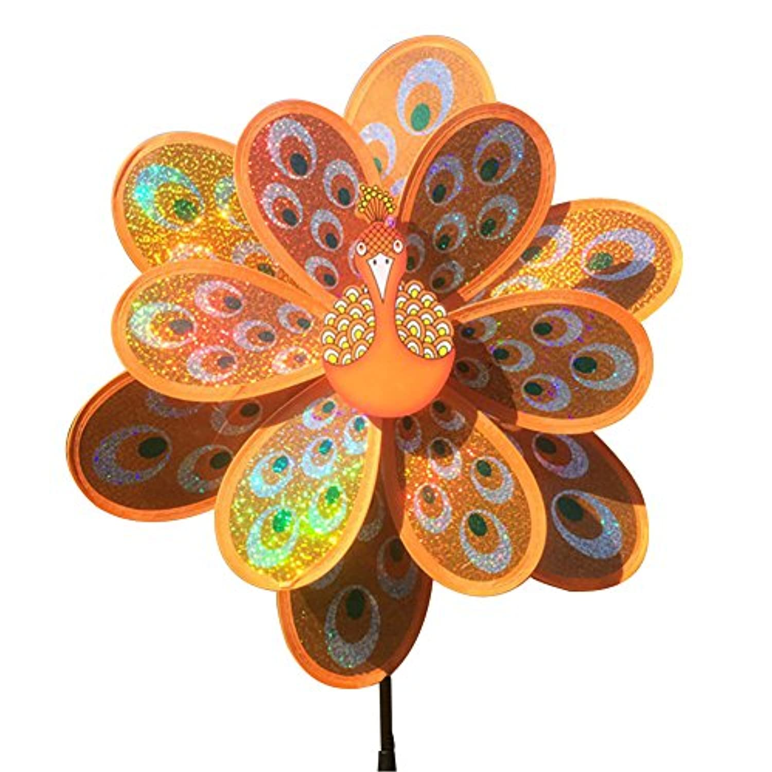 Jesse Peacock Wind Spinner Sequins Double Layers 3D Colourful Funny Windmill for Yard Garden Orange