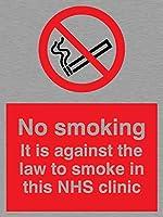 バイキングサインPS984-A5P-MS「禁煙。このNHSクリニックでは喫煙は法律違反です」サイン、ステンレス、マリングレード、200 mm H x 150 mm W