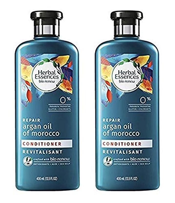 ヤギ保険をかける不器用Herbal Essences モロッコのコンディショナーBiorenew修理アルガンオイル、13.5液量オンス(2パック)