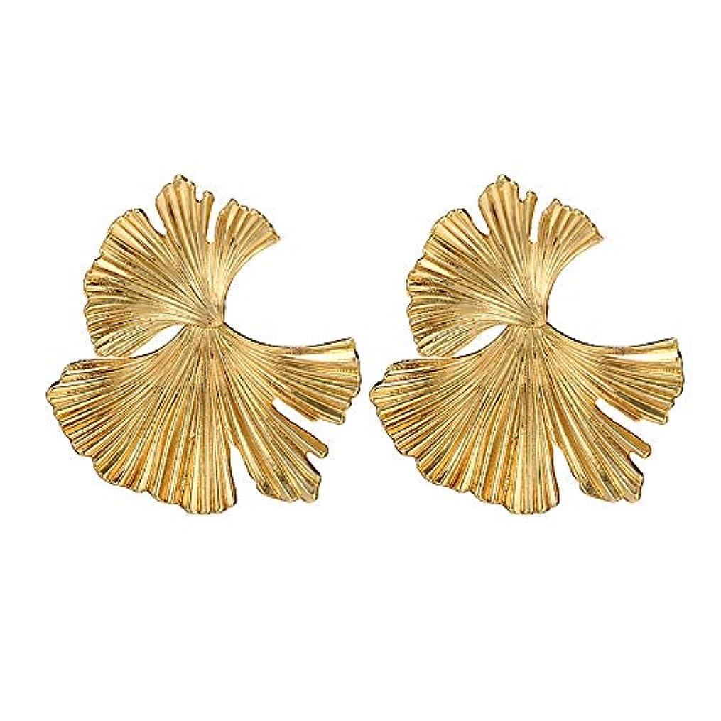 脳アパルアロングNicircle 女性ヴィンテージファッションクリエイティブビッグメタルフラワーイチョウ葉の合金のイヤリング Women Vintage Fashion Creative Big Metal Flower Ginkgo Leaf Alloy Earrings