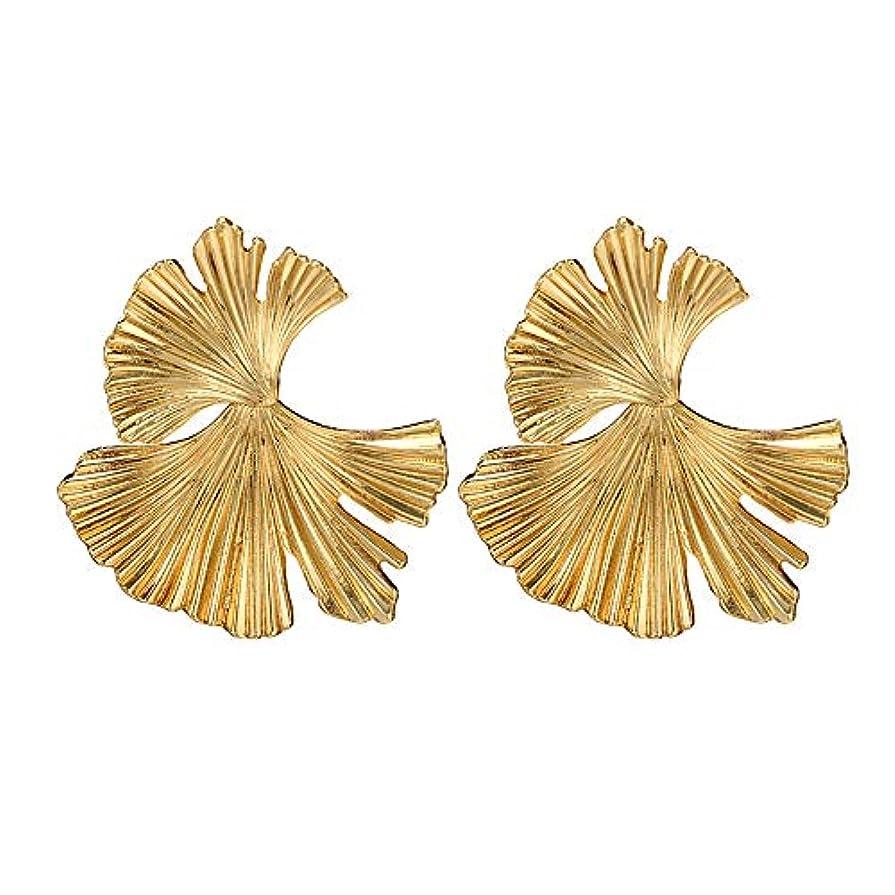 あたたかい不注意ジェスチャーNicircle 女性ヴィンテージファッションクリエイティブビッグメタルフラワーイチョウ葉の合金のイヤリング Women Vintage Fashion Creative Big Metal Flower Ginkgo Leaf Alloy Earrings