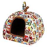 ペットハウス ペットウォータールー 小型犬・猫対応 暖かい 室内用 パオタイプ ふくろう柄(s)