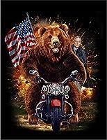 【FOX REPUBLIC】【グリズリーベア クマ 熊 ルーズベルト ハット】 黒光沢紙(フレーム無し)A2サイズ