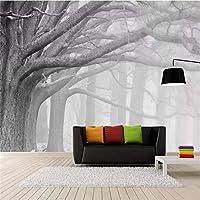 Mingld レトロなノスタルジックな現代の黒と白の森の木アートテレビの背景の壁の壁紙壁画カスタム写真-120X100Cm