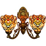 Vintage Tiffany Style Baroque 2 Arms Wall Lamp Stained Glass Upward Downward Wall Sconce Lights for Bedroom Living Room Hallway Balcony, E27,15cm