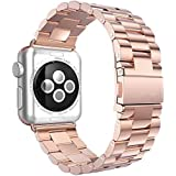 TOPCABIN® Apple Watch アップルウォッチ用 交換バンド ビジネススタイル 高級ステンレス ベルト 交換用ラグ付属 (ローズゴールド, 42mm)