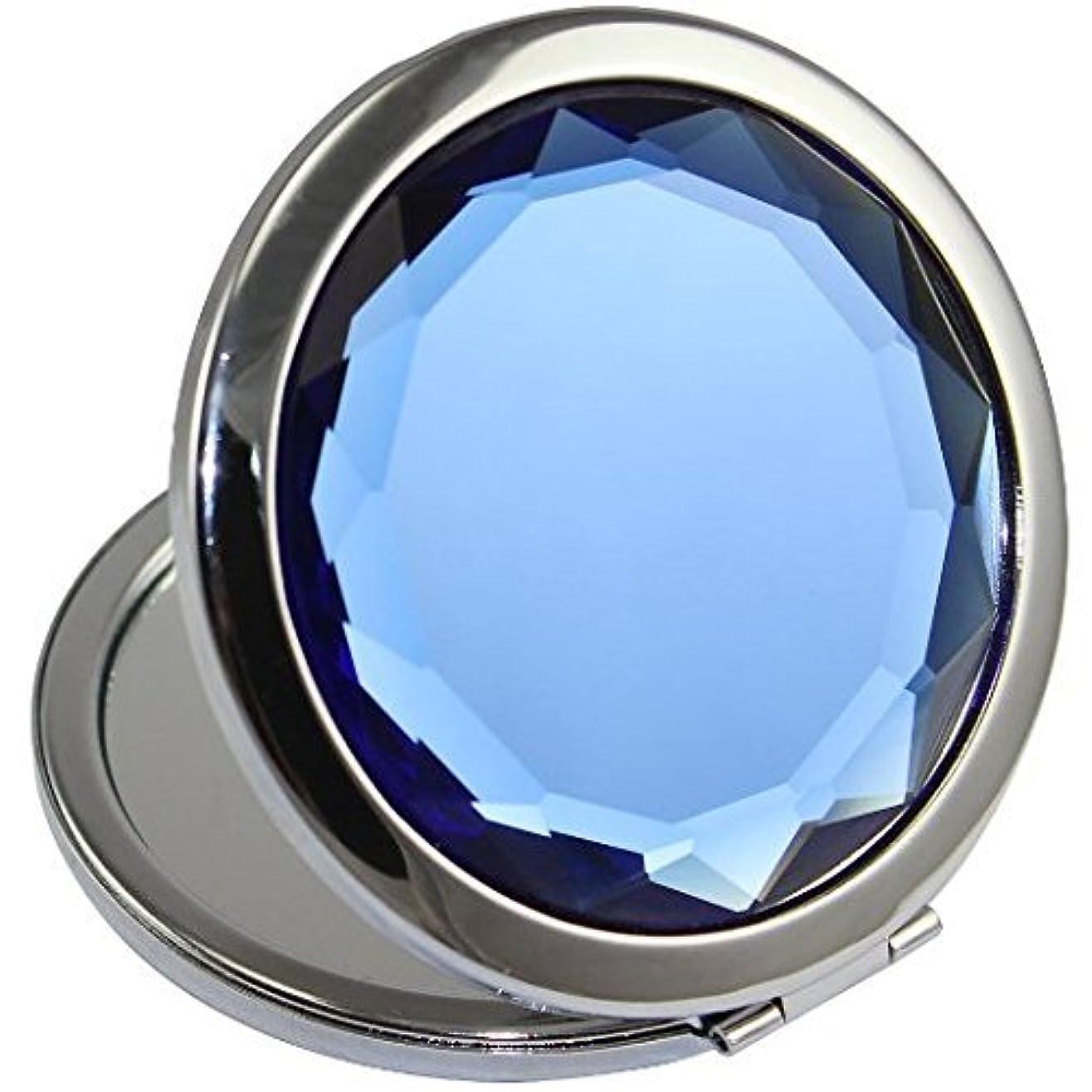 便宜ティーンエイジャーアルミニウムKOLIGHT両面(片面はノーマル、もう片面は拡大)折りたたみポケットメタルメイクコンパクトミラー女性コスメティックミラー(ブルー)