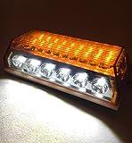 24V トラック 用 角型 24 LED サイド マーカー ランプ アンダー ダウン ライト 付き 10個 セット ホワイト ブルー アンバー グリーン レッド レインボー カスタム パーツ トレーラー デコトラ 等 (アンバー)