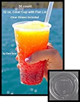 """50 count 32 oz. Clear Plastic Cup and Flat Straw Slotted Lid, Dart Solo w/ 10"""" Clear Giant Straws [並行輸入品]"""