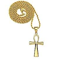 メンズ316lステンレススチール宗教クロスネックレスAnkh Cross of Lifeエジプトチャームペンダント ゴールド