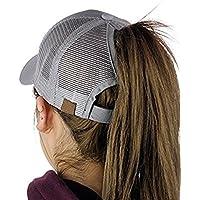 SEALEN Ponytail Messy Buns Trucker Ponycaps Plain Baseball Visor Cap Dad Hat, Adjustable Plain Visor Caps Multicoloured Athletic Ponytail Caps for Women Girl