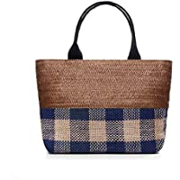 Happy Lily Vintage Handwoven Plaid Straw Tote Bag Reusable Shopping Tote Bohemian Shoulder Bag Travel Beach Bag with Plaid Linen Details Large Capacity (Coffee-Blue)