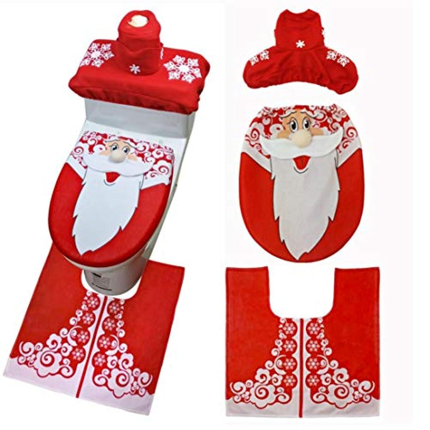 Swiftgood 3ピースクリスマストイレシート&カバーサンタクロースバスルームマットクリスマスかわいい装飾