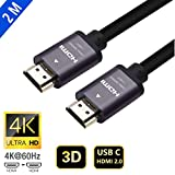 Proxima Direct 4K HDMI Cable, 2M HDMI Cable 2.0a/b High Speed HDR Ultra Full HD 4K@60Hz 4:4:4 Resolution 4096*2160 Aluminium Alloy Hood Gold Plated Connector for PS4|Xbox 360|Mac|HDTV| Projector|TV Box