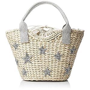 [クーコ]星 刺繍 メイズ かご バッグ シルバー