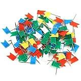 VERY100 小旗マップピン カラフルミニ旗 カラーミックス 高33mm お得な100点セット 色ランダム出荷 マップ/建築模型
