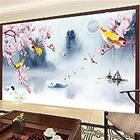 Weaeo 3D立体的な大きな壁の寝室のリビングルームのテレビの壁紙の壁紙プラム風景-200X140Cm