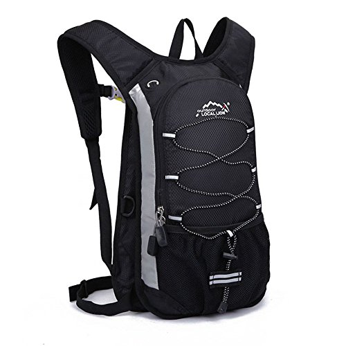 (アウトドアローカルライオン) OUTDOOR LOCAL LION ハイドレーションバッグ サイクリングバッグ ランニング 給水 マラソン 超軽量 自転車バックパック リュック 12L 8色選び (ブラック)