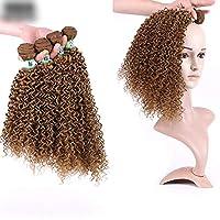Aisiau fuku 部分ウィッグ つけ毛 リアル レディース モテヘア ウィッグ かつら ヘアピース エクステウィッグ薄毛隠しロングカーリーヘアエクステンション16インチブラウン色髪アフロ変態織り方 - 染めることができます - 3バンドル/ロット、100グラム/バンドル (色 : ブラウン, サイズ : 20inch)
