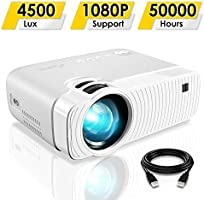 "Mini Projector, ELEPHAS 4500 Lumens Portable Projector Max 180"" Display 50000 Hours Lamp Life LED Video Projector..."