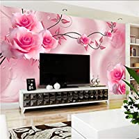 Lcymt カスタムサイズ3D絹布花写真の壁紙花バラ壁画用テレビソファ背景リビングルーム寝室シンプルな家の装飾B-120X100Cm