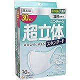 【セット品】(日本製 PM2.5対応)超立体マスク スタンダード 大きめサイズ 30枚入(unicharm) 4個