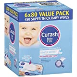 Curash Water Baby Wipes, 6 packs of 80 wipes (480s wipes)