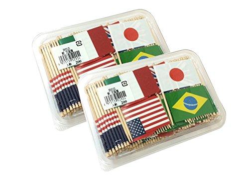 ランチ旗 万国旗楊枝 フラッグピック 400本 (200本入x2パックセット)