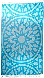 Bersuse GOTS-Certified 100% Organic Cotton Flamenco Turkish Towel Peshtemal - 37X70 Inches, Aqua