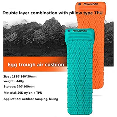 XuBa Air Cushion Outdoor Tent Sleeping Mat Super Lightweight Egg Slot Cushion with Pillow for Camping