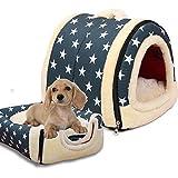 ペットハウス 折りたたみ式 2WAY 通気性良い 暖かい ドーム型 洗える ベッド 中敷き付き 猫犬 室内用 (M, ブルー - スター)