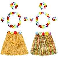 BESTOYARD ハワイトロピカルフラグラスダンススカートフラワーブレスレットヘッドバンドネックレスセット2セット(カラフルなスカートとストローカラースカート)