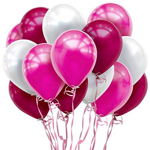 しあわせ倉庫 鮮やか3色 風船 バルーン 100個 空気入れ リボンセット 誕生日 結婚式 パーティー 飾り (ピンク)