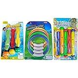 ダイビングリング ダイビングスティック ダイビング海草 12点セット 潜水玩具 プールトイ 水中玩具 スイミングプール おもちゃ トレーニング MINAKIKO underwater play sticks game set