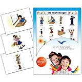 Feelings Flashcards in German Language - Flash Cards with Matching Bingo Game for Toddlers, Kids, Children and Adults - Size 4.13 × 5.83 in - DIN A6