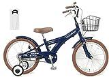 【手押し棒セット】子供用自転車 18インチ ROLLING RINGS BMXタイプ 子ども用自転車 キッズ 幼児車 ローリ 男の子 女の子 (ネイビー)
