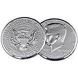 【手品グッズ】 マジックコイン ケネディ?ハーフダラー?コイン アメリカ50セント 3インチ 73.5mm  シルバー