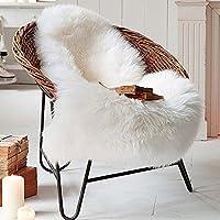 【Eanpet】天然 ムートン ラグ 毛足5.5cm ニュージーランド産 リビング/ベッドルーム 羊毛ラグマット シートマット ホワイト 羊の形 (1匹物, アイボリーホワイト)