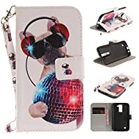 LG Phoenix 2 CaseLG Escape 3 CaseLG K8 CaseXYX [Fashion dog][Painted Lanyard] PU Leather Wallet Case Kickstand Cover With Built-in Slots Case for LG Phoenix 2/LG Escape 3/LG K8 [並行輸入品]
