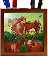 Rikki Knight 5-Inch Van Gogh Art Les Vaches Design Wooden Tile Pen Holder (RK-PH1406) [並行輸入品]