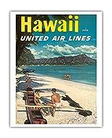 ハワイ - ユナイテッドエアラインズ - ダイヤモンドヘッドクレーターの前でハワイアウトリガーカヌーでのカップル - ビンテージなハワイの旅行のポスター c.1960s - アートポスター - 41cm x 51cm
