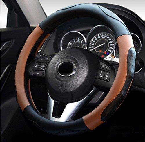 Ontto ハンドルカバー ステアイングカバー フィット スポーツ風 38cm Mサイズ 触感よく 滑り止め 汚れ防止 通気性いい 高品質 マイクロファイバー革 ブラウン