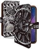 Xperia 8 SOV42 ケース 手帳型 クロック ダイヤ シルバー スチームパンク スマホケース エクスペリア8 エクスペリアエイト 手帳 カバー Xperia8 Xperia8ケース Xperia8カバー 時計 ぜんまい 時計柄 [クロック ダイヤ シルバー/t0777e]