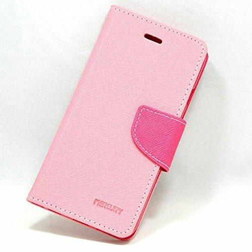 【シンプルにオシャレなケース!】iPhone SE PU レザー 手帳型 ケース マルチ カラー Fancy Diary case カード収納 クリーニングクロス 付 【DISE オリジナルセット】 (iPhone SE, ピンク×マゼンタ)
